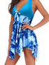 Plus Size Halter Irregular Bowknot Backless Swimdresses