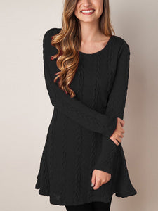Long Sleeve Round Neckline Sweater Dress