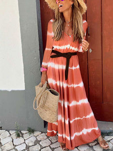 Round Neck Stripe Printed Long Sleeve Casual Maxi Dress