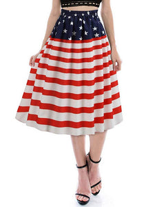 American Flag Print Evening Party Prom Swing Skirt - Hellosasa