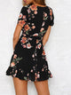 Black Casual Short Sleeves Floral Print Mini Dress - Hellosasa