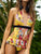 Yellow Floral Plunging One Piece Swimwear