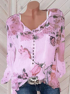 Square Neck Button Floral Printed Long Sleeve Blouses