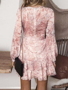 Long Sleeve Ruffle Floral Print Chiffon Dress