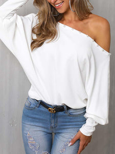 One Shoulder Solid Color Bead Casual Loose Blouse