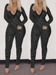 Sequins Splicing V-Neck Long Sleeve Sexy Jumpsuit