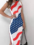 Sleeveless Flag Print Side Button Bodycon Dress