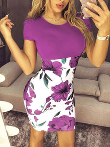 Plus Size Floral Printed  Round Neck Short Sleeve Sexy Dress