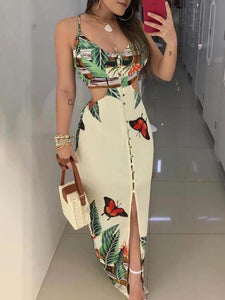 Spaghetti-Strap-Tropical-Print-Cutout-Dress-Findalls