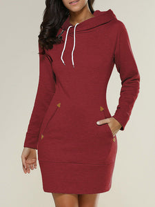 Plus Size Long Sleeve Hooded  Pocket Casual Sweatshirt