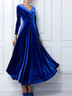 V Neck  Long Sleeve Solid Color Draped Casual Velvet Maxi Dress