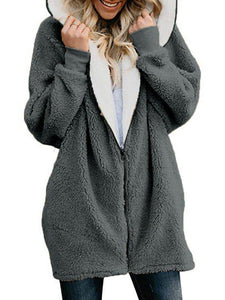 Zipper Solid Sweet Pocket Long Sleeve Thin Hoodie & Coat