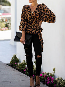 Leopard Printed V Neck Latern Sleeve Blouse