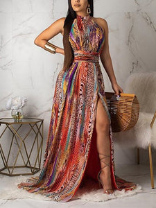 Sleeveless Backless Stripe Print Sexy Party Dress