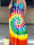 Sleeveless Leisure Tie-Dye Printed Casual Floor Length Dress