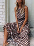 Polka Dot Sleeveless Maxi X-line Dress