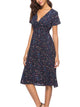 V Neck Short Sleeve Floral Print Draped Casual A Line Midi Dress