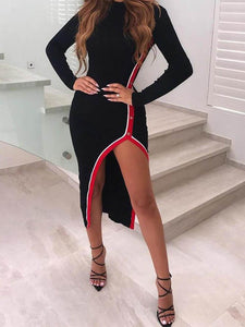 Contrast-Binding-Slit-Long-Sleeve-Bodycon-Dress-Findalls
