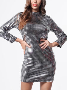 High Neck Sequin  Long Sleeve Fashion Bodycon Dress