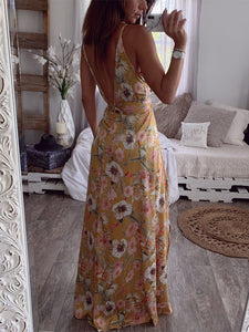 Sexy Spaghetti Straps Backless Side Split Floral Print Draped Casual Maxi Dress