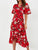 V Neck Flare Sleeve Floral Print Ruffles Casual Maxi Dress