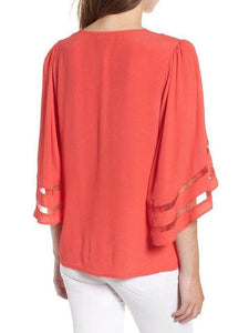 Solid Color V Neck Flare Sleeve Casual Blouse
