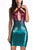 Sexy Halter Backless Cutout Gradient Color Sequins A Line Mini Dress