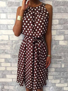 Elegant Round Neck Sleeveless Off Shoulder Polka Dot Casual Midi Dress