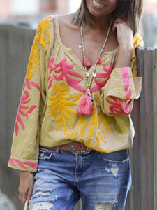 V Neck Floral Long Sleeve Casual Blouse