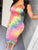 Tie Dye Print Ruched Tube Bodycon Dress