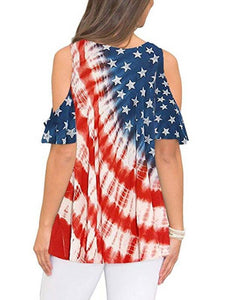 Loose Round Neck Flag Print Top