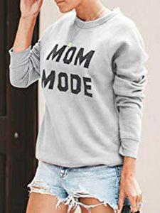 Mom Mode Round Neck Print Casual Loose Long Sleeve Sweatshirt