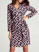 V-Neck-Wrap-Geo-Print-Knotted-Waist-Dress