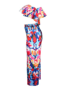 Lovely Dew Shoulder Printed Two-piece Skirt Set