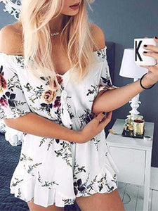 White Sexy Off Shoulder Floral Draped Romper