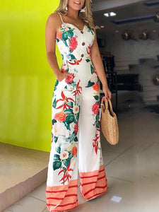 Sexy Off Shoulder Spaghetti Strap Floral Print Single-Breasted Jumpsuit
