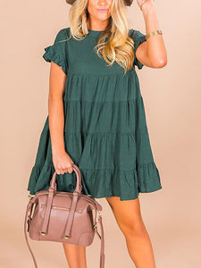 Solid Color Ruffled Folds Short-Sleeved  Mini Dresses