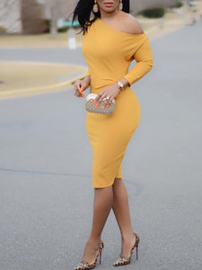 Off Shoulder Solid Color Long Sleeve Elegant Casual Dress
