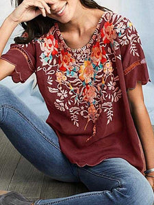 Round Neck Short Sleeve Floral Embroidery Simple Loose Blouse