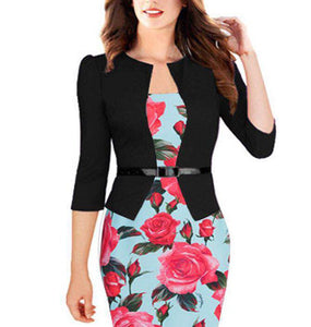 Sexy Slim Office Pencil Bodycon Floral Belt Dress