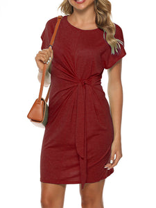 Solid Color Round Neck Short Sleeve Knotted Waist Casual Mini Dress
