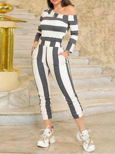 One Shoulder Striped Casual Jumpsuit