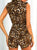 Deep V Neck Sleeveless Leopard Print Button Belt Casual Romper