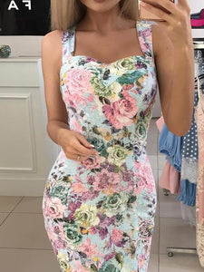 Floral Print Sweetheart Neck Bodycon Dress