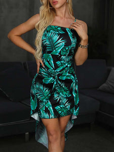 Spaghetti-Strap-Tropical-Print-Twisted-Front-Dress-Findalls