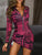 Elegant Lapel Long Sleeve 3D Print Knotted Bodycon Mini Dress