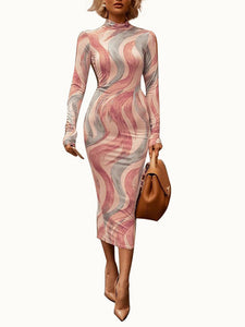 Long Sleeve Turtle Neck Printing Stripe Tube Dress