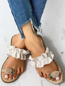 Pineapple Pattern Toe Ring Casual Sandals