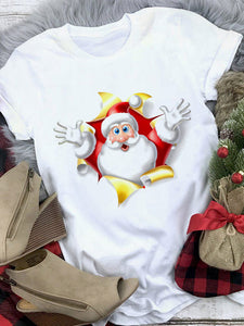 Casual Santa Claus Printed  Christmas Loose T-Shirt