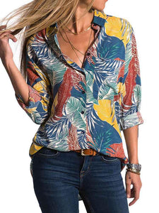 V Neck Long SleeveTropical Floral Button-down Loose Blouse